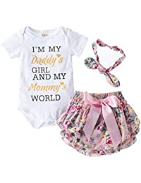 Hopscotch Baby Girls Polycotton Text Print Onesies and Bloomer with Headband Set in White Color