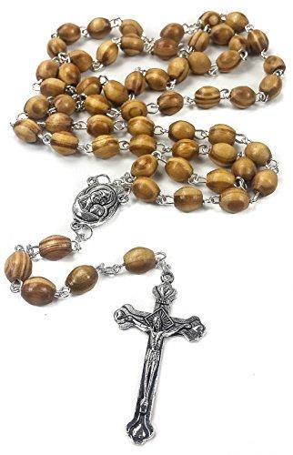 1bffc4f2e21 Rosario con perlas de madera de olivo para oración católica