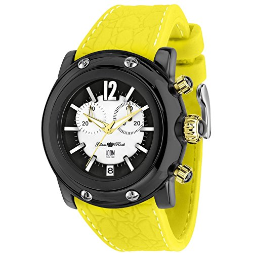 Glam Rock Unisex Miami Beach 46mm Yellow Silicone Band Polycarbonate Case Quartz Black Dial Watch GR25136