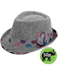 1e5149d769a Hawkins Hats Spotty trim light grey trilby hat with side flower