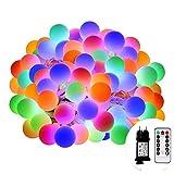 LED Lichterkette Bunt, Afufu 100er LED Kugel Lichterkette 13m Innen/Außenbeleuchtung mit Fernbedienung, Memory-Funktion 8 Modi Deko Glühbirne für Weihnachten, Party, Garten, Hochzeit, Weihnachtsdeko,Weihnachtsbeleuchtung