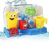 FUNTOK Badespielzeug Wasserspiel Wasserspielzeug Badewannenspielzeug Wasserspaß Spielzeug Dusche Spielzeug Creative Cartoon Portable Wasser Sprinkler System mit Sucker Early Education Interaktive