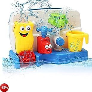 FUNTOK Giochi per Bagnetto Giocattolo Acquatico durante il Bagnetto Mulino ad Acqua Spruzzatura dell'acqua del giocattolo della vasca da bagno creativo con il interattivo dei giocattoli di bagno