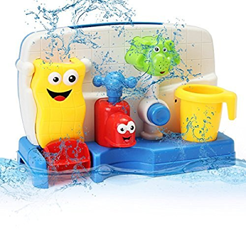 FUNTOK Badespielzeug Wasserspiel Wasserspielzeug Badewannenspielzeug Wasserspaß Spielzeug Dusche Spielzeug Creative Cartoon Portable Wasser Sprinkler System mit Sucker Early Education Interaktive