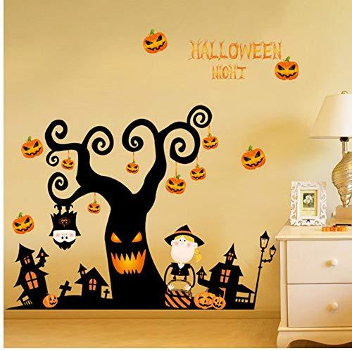 Halloween Kürbis Skelett Nacht Baum 3D Diy Entfernbare Wandaufkleber Schlafzimmer Wohnzimmer Boden Aufkleber Dekor Fenster Vinyl Aufkleber 42 Cm * 57 Cm