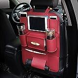 JenNiFer Multifunktionale Pu-Leder-Auto-Rücksitz-Aufbewahrungstasche Multi Pocket Phone Cup Holder Organizer - Rot