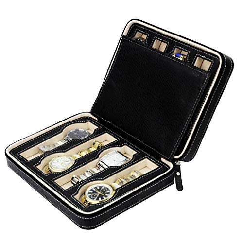 Box For - 8 Slots Genuine Pu Leather Watch Travel Case Collector Storage Zipper Box Wedding Party Decor - Dessert Arrangement Soap Burial Quarters Pencils Necklace Cartridge Essential Mo Floral Dessert