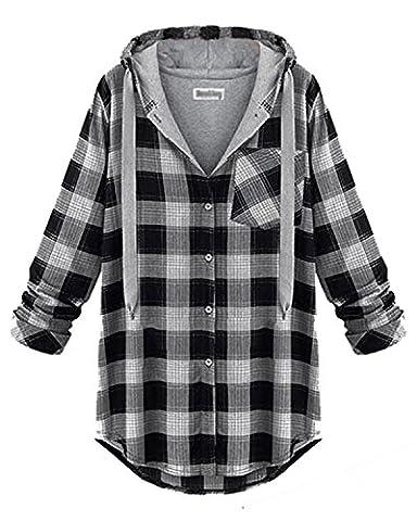 ZANZEA Femme Casual Chemise Manches Longues Carreaux Hoodie Longue Coton Blouse à Capuche Tunique Blanc&Noir Carreaux FR 36/Etiquette Taille S
