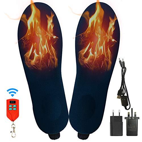 J-Jinpei Beheizbare Einlegesohlen Fußwärmer Beheizbare Thermosohle Kit mit Fernbedienung Schalter Drahtlose Wiederaufladbare batteriebetriebene Heizung Größe 4-9 (35-40), Blau (1 Paar)