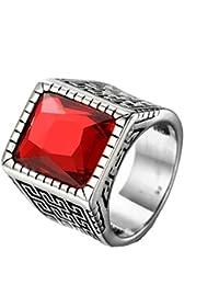 HIJONES Hombres Acero Inoxidable Diamante Cortar Piedra Preciosa Anillo