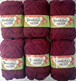 #8: ELA Yashika Best Quality Yarn Maroon Colour - Pack of 6
