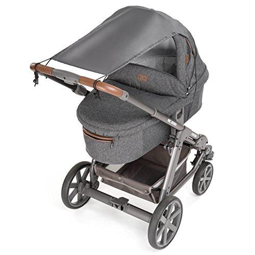 Imagen para Zamboo Toldo / Protección solar universal para cochecitos, capazos y sillas de paseo - Parasol flexible con protección UV 40+ y función de persiana enrollable - Gris