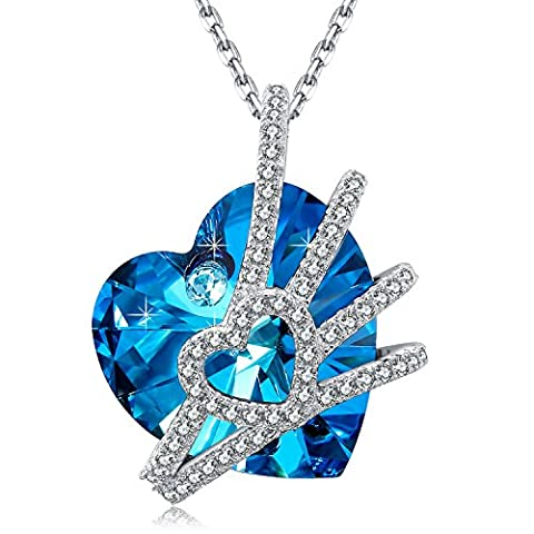 MEGA CREATIVE JEWELRY-Women Necklace Venus Blue Heart Shaped Pendant Made of Swarovski Crystals Gift for