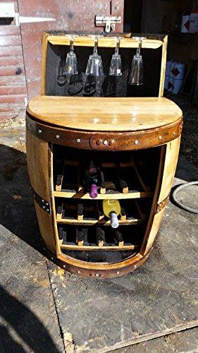 Die George recycelten Whisky Cask Weinregal und Glas Halter mit Ablage.