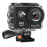 GeeKam Action Cam 1080P Full HD 30 m Unterwasserkamera 2 Zoll LCD 120 ° Weitwinkel-Sportkamera mit...