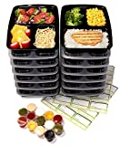 14-Pack 3 Compartment Meal Prep Containers with Lids & 30ml Leak Proof Sauce Cups. Microwave & Dishwasher Safe, BPA Free, Reusable, Stackable, Portion Control Bento Lunch Box Food Containers (Black)