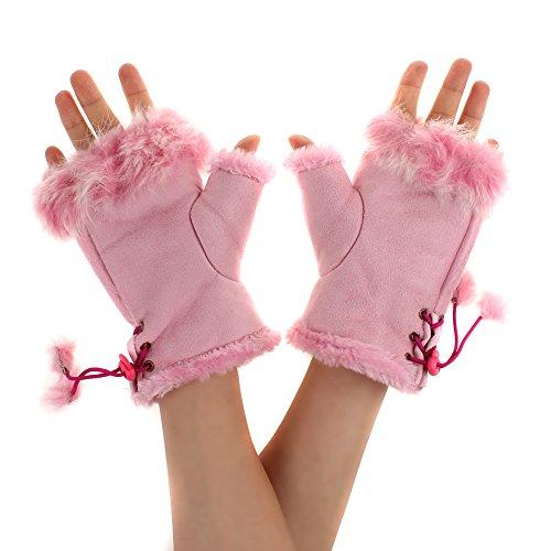 Guantes Invierno Mujer,TININNA Guantes sin Dedos Manopla con Piel de Conejo Suave para Mujer Niña-Rosa