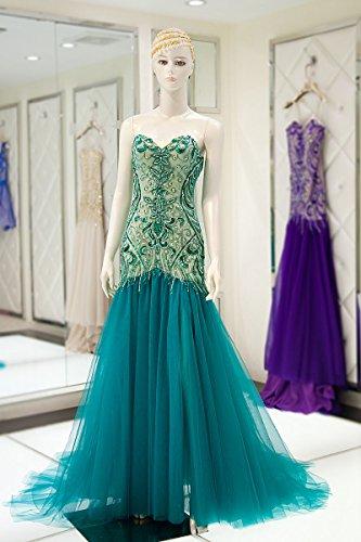 Sarahbridal Damen Kleid Blau - Blau