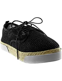 Angkorly Scarpe Moda Espadrillas Scarpa Derby Suola di Sneaker Zeppe Donna  Perforato Paillette Corda Tacco Tacco 489a152084a