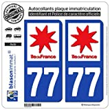 blasonimmat 2 Autocollants Plaque immatriculation Auto 77 Ile-de-France - Logotype...