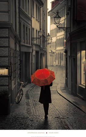 Red Rain Art Poster Print by Stefano Corso, 24x38 by AllPosters US