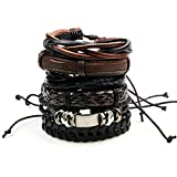 6pcs Brown Wrap Real leather bracelet for Boys - Best Reviews Guide