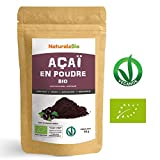 Poudre de Baies d'Açai Bio [Freeze-Dried] 50g. Pure Organic Acai Berry Powder. 100% Produit au Brésil, Lyophilisé, Cru, extrait de la pulpe de baie d'acaï. Superfood riche en antioxydants, vitamines.