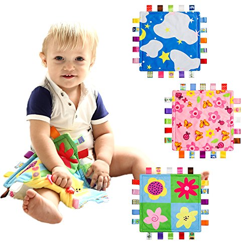 INCHANT Baby-Sicherheitsdecke mit bunten Tags Infant Tröster Taggy Decke, 3 Stück