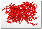 Puntine generiche con testa in plastica, bianco oro argento blu rosso verde nero. Confezione da 100 Red