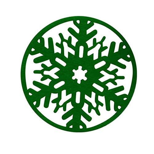 FORHOME 6 Stück PVC Schneeflocke Isoliermatten Berg Matte Dekoration für Parteien Feiern Eröffnung Dekoration, grün (Kaffee-tassen Grüner Berg)