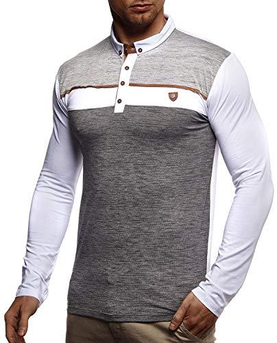 Leif Nelson Herren Polo-Shirt Langarmshirt Slim Fit Baumwolle-Anteil Basic Männer Longsleeve Pulli weißes Sweatshirt Poloshirt Pullover T-Shirt Langarm LN4805 Weiß Small (Langarm Vintage-polo-shirt)