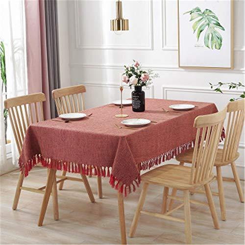 MMSYD Rechteckige Tischdecke Wasserdicht Gemischt Solide Tischabdeckung Verbrühschutz Hochzeitstuch Tisch Heimtextilien Garten Ziegel Rot 140X220Cm