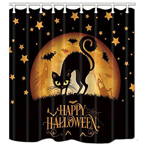 Aliyz Happy Halloween Duschvorhänge Cary Cat im gotischen Wald bei Nacht mit Fledermaus fliegen Polyestergewebe wasserdicht Bad Vorhänge Duschvorhang Haken enthalten 71X71in (Und Zitate Happy Halloween-bilder)