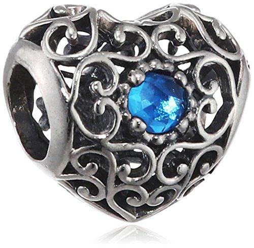 Pandora Damen-Charm Dezember Herz 925 Silber Kristall blau - 791784NLB (Pandora Charm Geburtsstein Dezember)