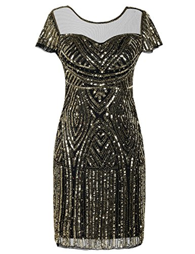 Inspirierte 40 Kostüm - kayamiya Damen Flapper Kleider Inspiriert Pailletten Cocktail Great Gatsby Kleid M Gold