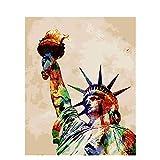 NHJKKLLL DIY ölgemälde Freiheitsstatue Malen Nach Zahlen für Erwachsene Anfänger Kinder Leinen Leinwand 16 * 20 Zoll (Ohne Rahmen)