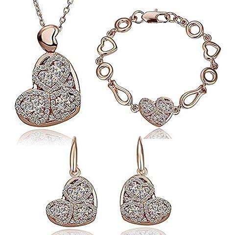 HSG a forma di cuore di cristallo Jewellery Sets collana, bracciale, orecchini