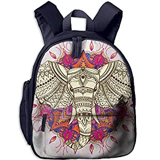Aztec Elephant Double Zipper Waterproof Children Schoolbag Backpacks with Front Pockets for Kids Boys Girl