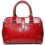 SAIERLONG Damen Rotwein Echtes Leder Damen Handtaschen Schultertaschen