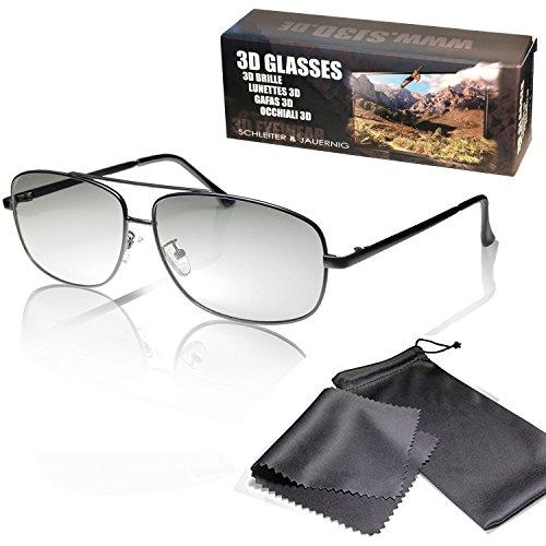 SJ3D Passive 3D Brille - Fliegerbrille / Pilotenbrille matt schwarz - Polfilterbrille zirkular polarisiert - Für RealD 3D Kino & TV: LG Cinema 3D Philips Easy 3D Telefunken Toshiba 3D Natural Vizio 3D und 3DTVs von SONY Grundig Panasonic Hisense CMX uvm. - Inkl. Mikrofaser Brillenbeutel und Putztuch