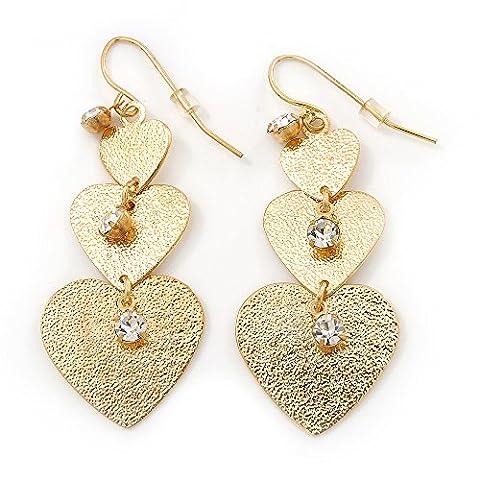 Gold Tone Textured Diamante Triple Heart Drop Earrings - 50mm Length
