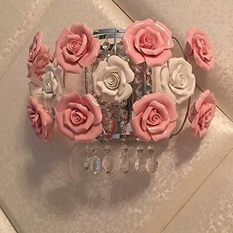 ZWKL Luci di rurale vento-creativo soggiorno camera da letto parete navata,Grandi fiori rosa + fiori bianchi