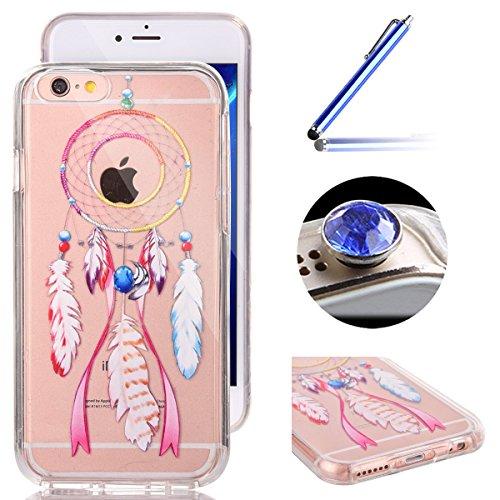 iPhone 6 Plus Coque,iPhone 6S Plus Housse Diamant,ETSUE Mode Luxe Miroir Bling Glitter iPhone 6 Plus Silicone Coque Luxueux Crystal Scintiller Doux Coque Bague Etui Rose Romantique Élégant Fleur Couro Clochette à Vent