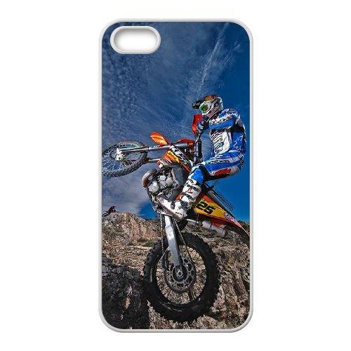 Motocross 002 coque iPhone 5 5S Housse Blanc téléphone portable couverture de cas coque EOKXLKNBC24063