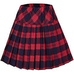 020121566 Urban GoCo Falda Escocesa Plisada con Cintura Elástica para Mujeres (S
