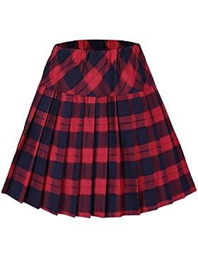 [Patrocinado]Urban GoCo Mujeres Falda Escocesa Plisada con Cintura Elástica Escuela Uniforme Falda Cuadros