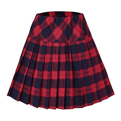 Urbancoco Damen Schulmädchen-Stil Tartan Skater Röcke (M, #5 rot) - Mini Kilt