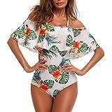 Chinatera Women's Fasion Perspective Bikini Floral Print Swimsuit One Piece High Waist Swimwear