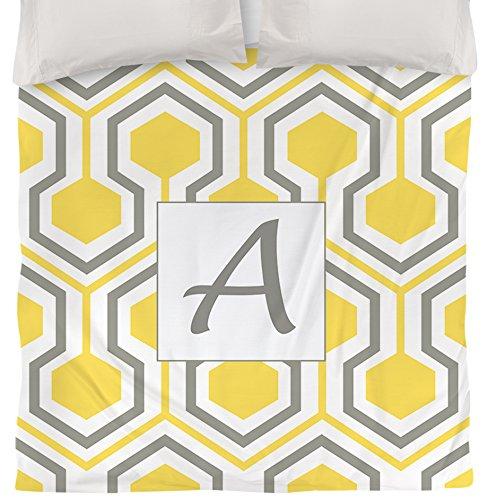 Manuelle holzverarbeiter & Weavers Bettbezug, Queen/Full, Monogramm Buchstabe A, gelb Honeycomb - Gelb Bettbezug King-set