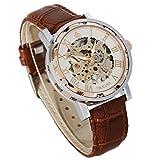 GuTe Steampunk Herrenarmbanduhr, mechanische Armbanduhr, römische Zahlen, braunes Lederband, analog, Rosegold, mit weißem ZIfferblatt, leuchtende Zeiger